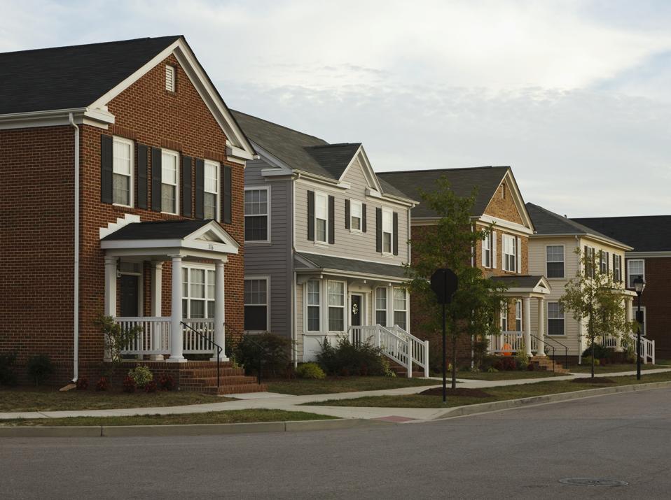 Neighborhood Homes On Street Corner