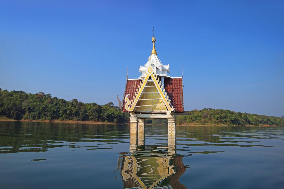 The Old Structure of Wat Wang Wirekaram (Old) Belfry Became Underwater City after the Dam was Built, Sangkhlaburi District, Kanchanaburi, Thailand