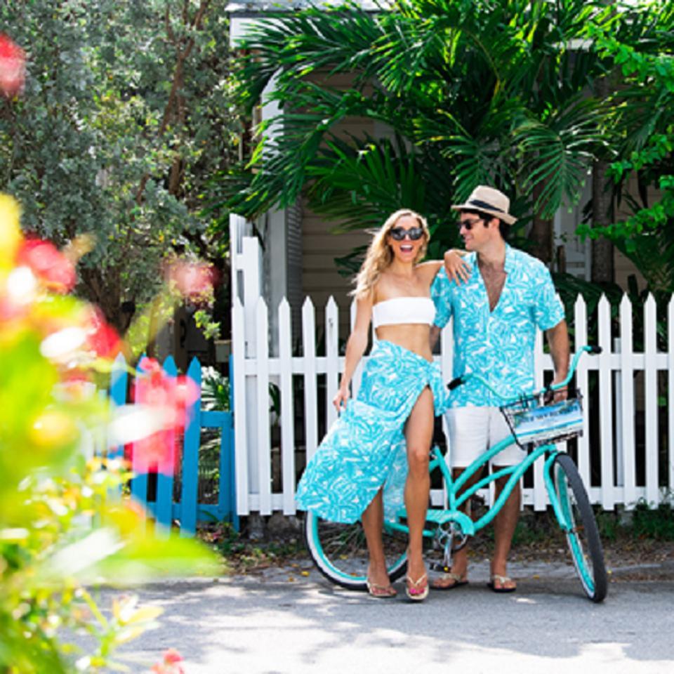 Couple outside bungalow