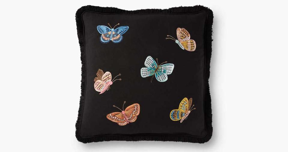 Rifle Paper Company Butterflies Embroidered Pillow against a white background