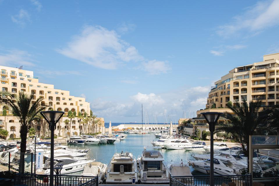 View of Portomaso Marina in St Julians Malta