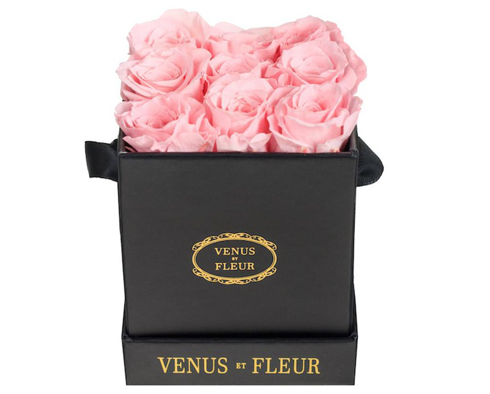 pink eternity roses in a black box