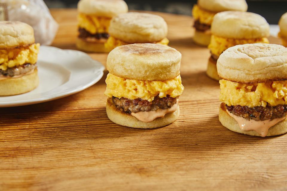 Mini Brekkie Sandies from Chef Curtis Stone, made with Wolferman's Bakery English Muffins in honor of National English Muffin Day