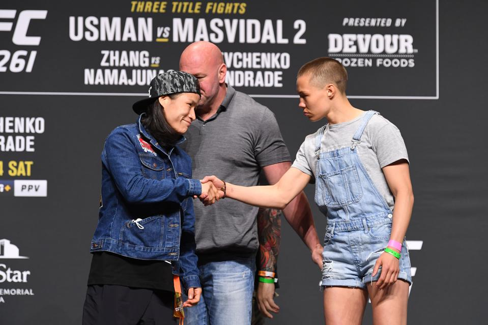 Weili Zhang puts her UFC strawweight title on the line against ex-champion Rose Namajunas in the co-main event of UFC 261
