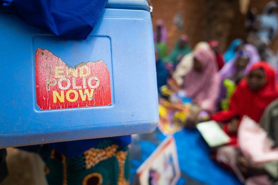 Volunteer vaccinators in Nigeria carry polio vaccines in cold boxes like this one as they go door to door to immunize children.