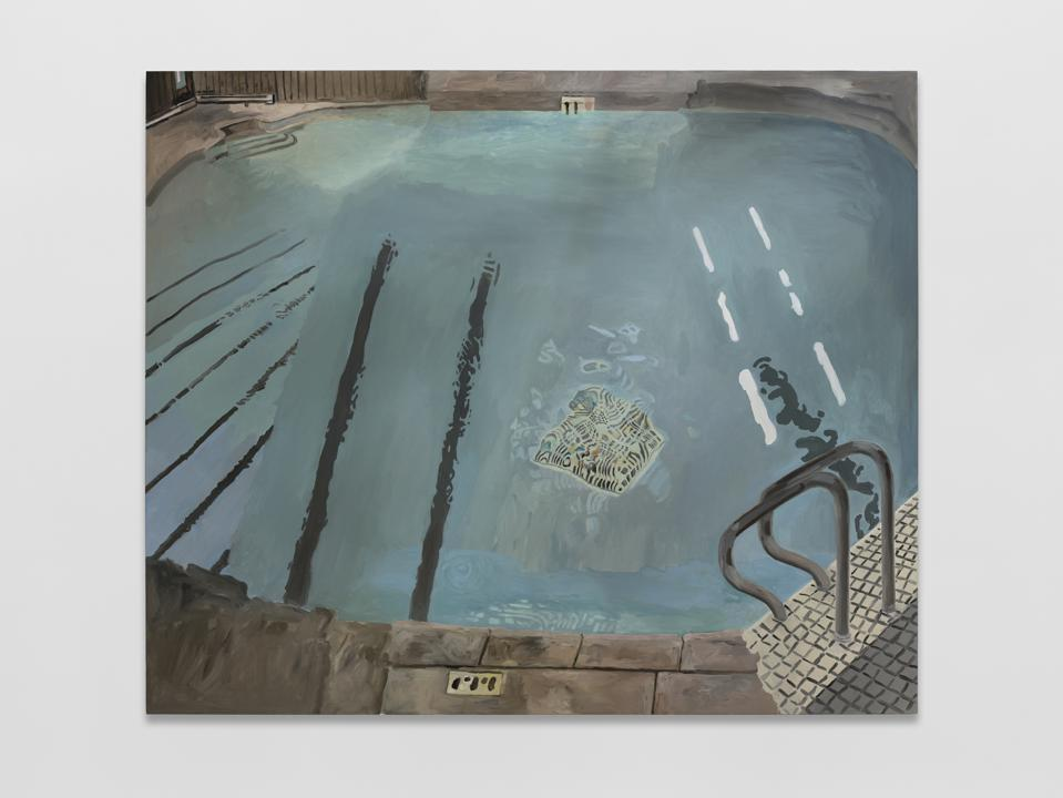 painting of blue pool