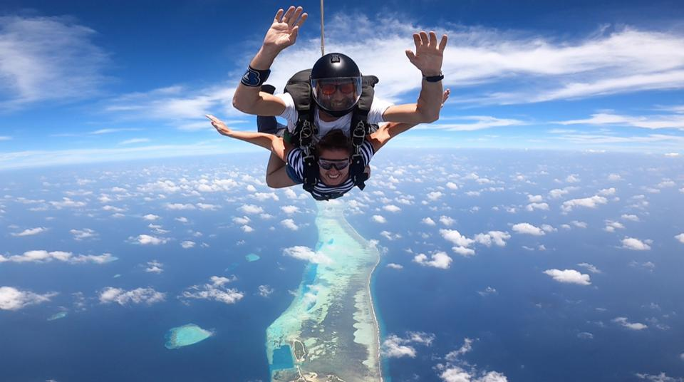 The Nautilus Maldives is offering guests the chance to skydive.