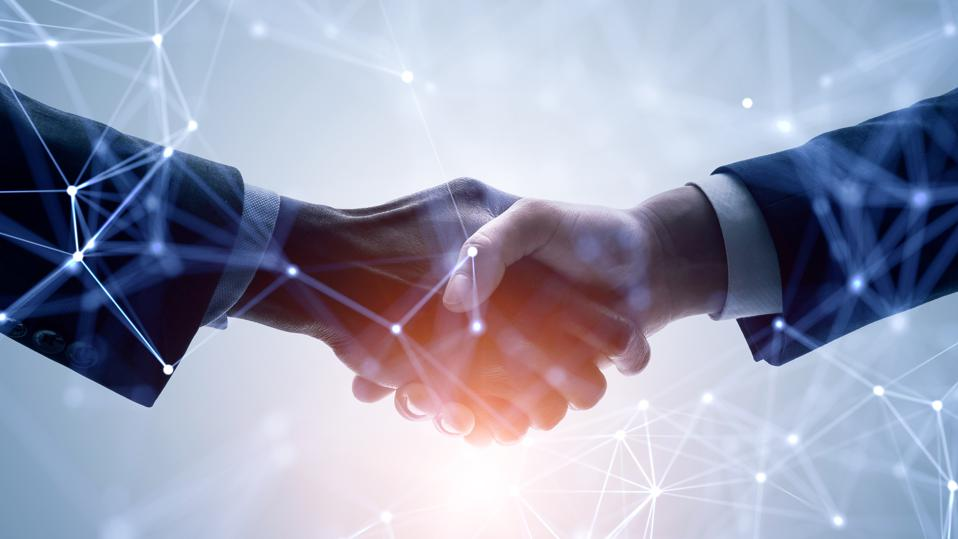 Business network concept. Customer support. Shaking hands.