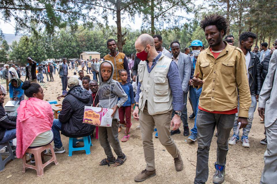 Manuel Fontaine, Director of UNICEF's Office of Emergency Programs, center, visited a camp for internally displaced people in Adigrat Town, Tigray, on Feb. 22, 2021.