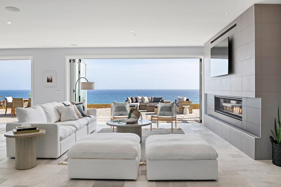 living room inside new luxury home 1631 Shoreline Dr, Santa Barbara, CA 93109