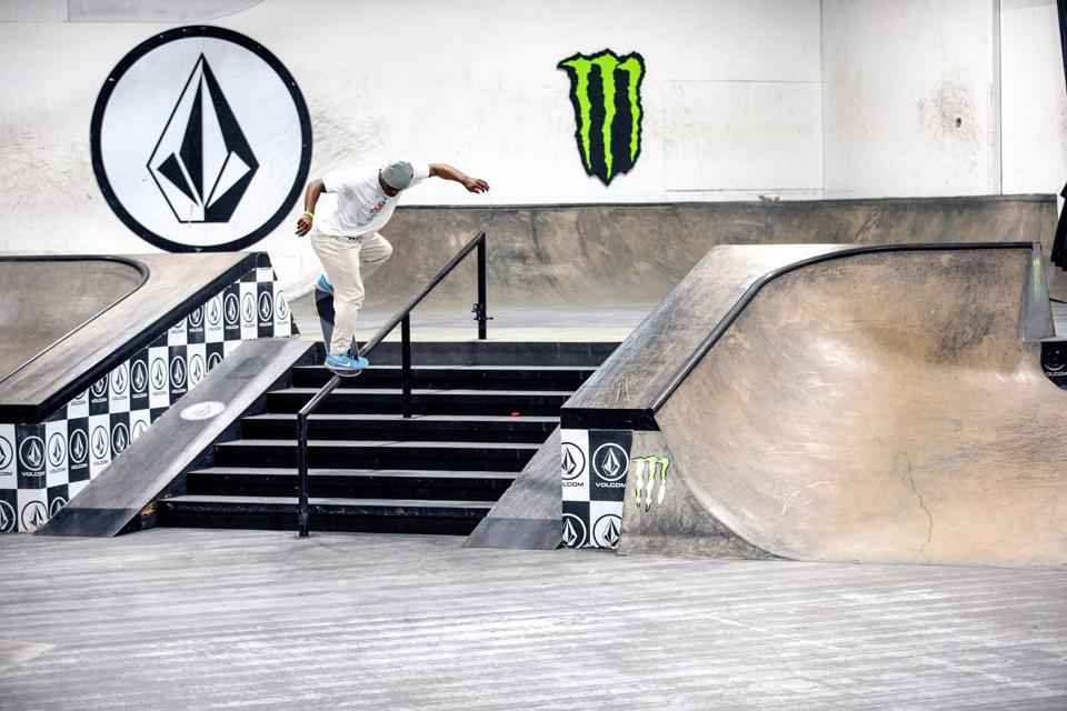 Dashawn Jordan competes in the first Street League Skateboarding Unsanctioned event in 2020.