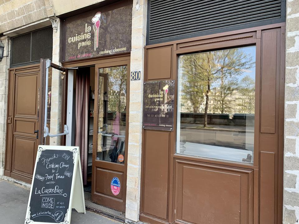 The entrance of La Cuisine Paris is across from the Seine and a stone's throw to the Chic and popular Marais neighborhood in Paris. Classes can be take online while France is still in lockdown.