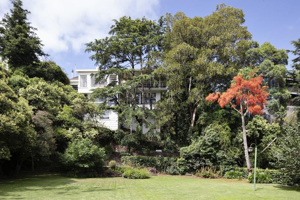 rear exterior deco inspired home at 7 Edzell Avenue Toorak, Victoria, Australia