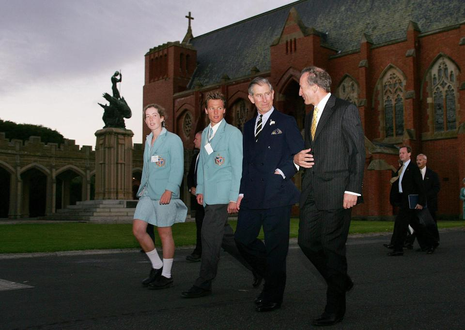 Britain's Prince Charles walks around at geelong grammar school