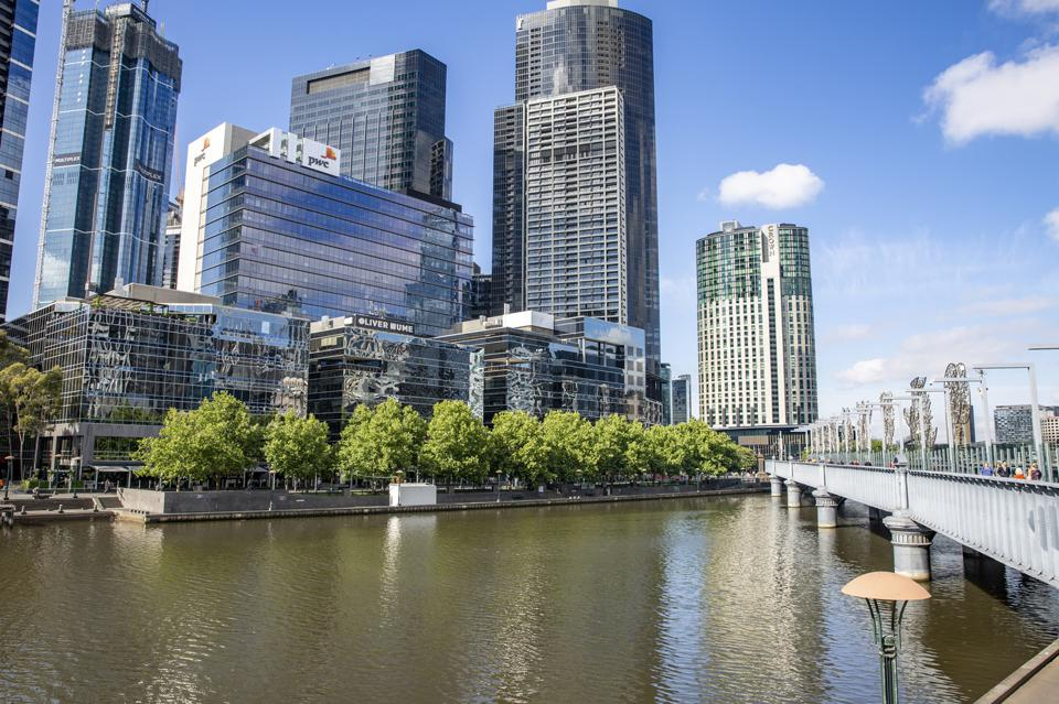 corporate office buildings on the Southbank of the Yarra River melbourne australia