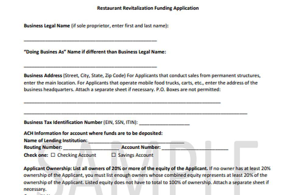 Sample application form for the Restaurant Revitalization Fund