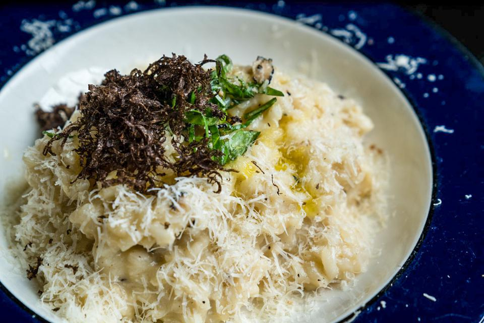 Close up of risotto with black truffle
