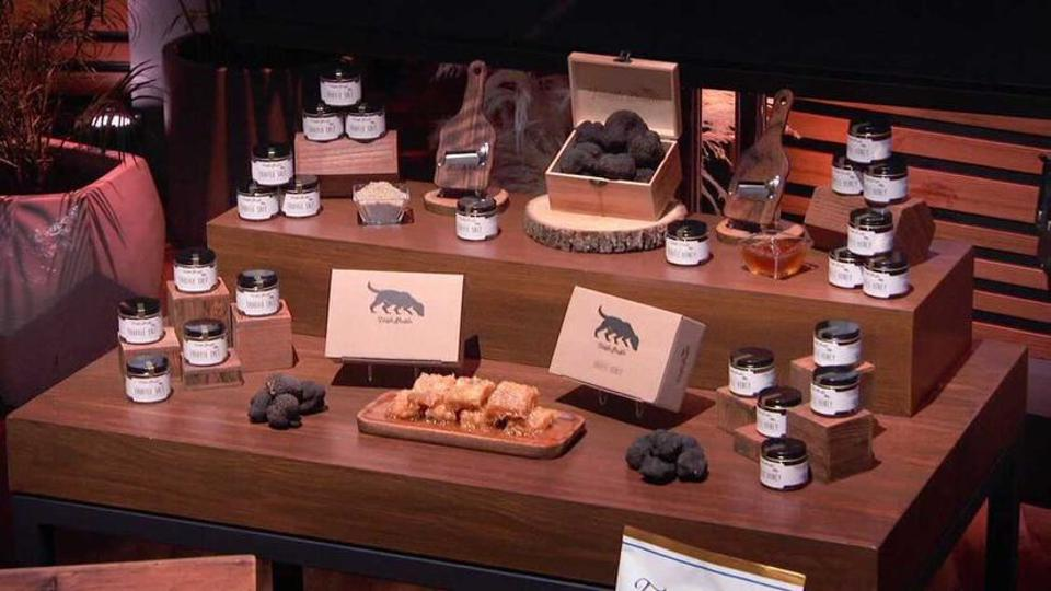 A display of Truffle Shuffle products for sale