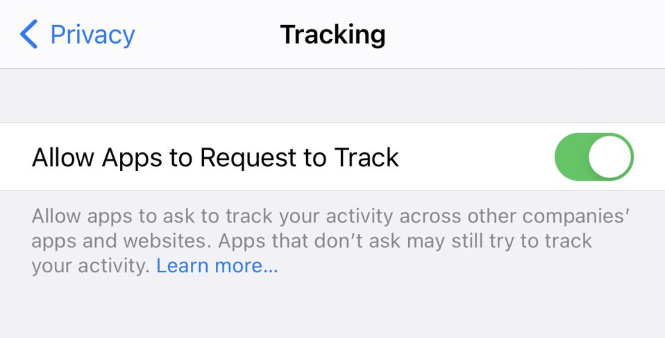 Allow Apps to Request to Track iPhone setting