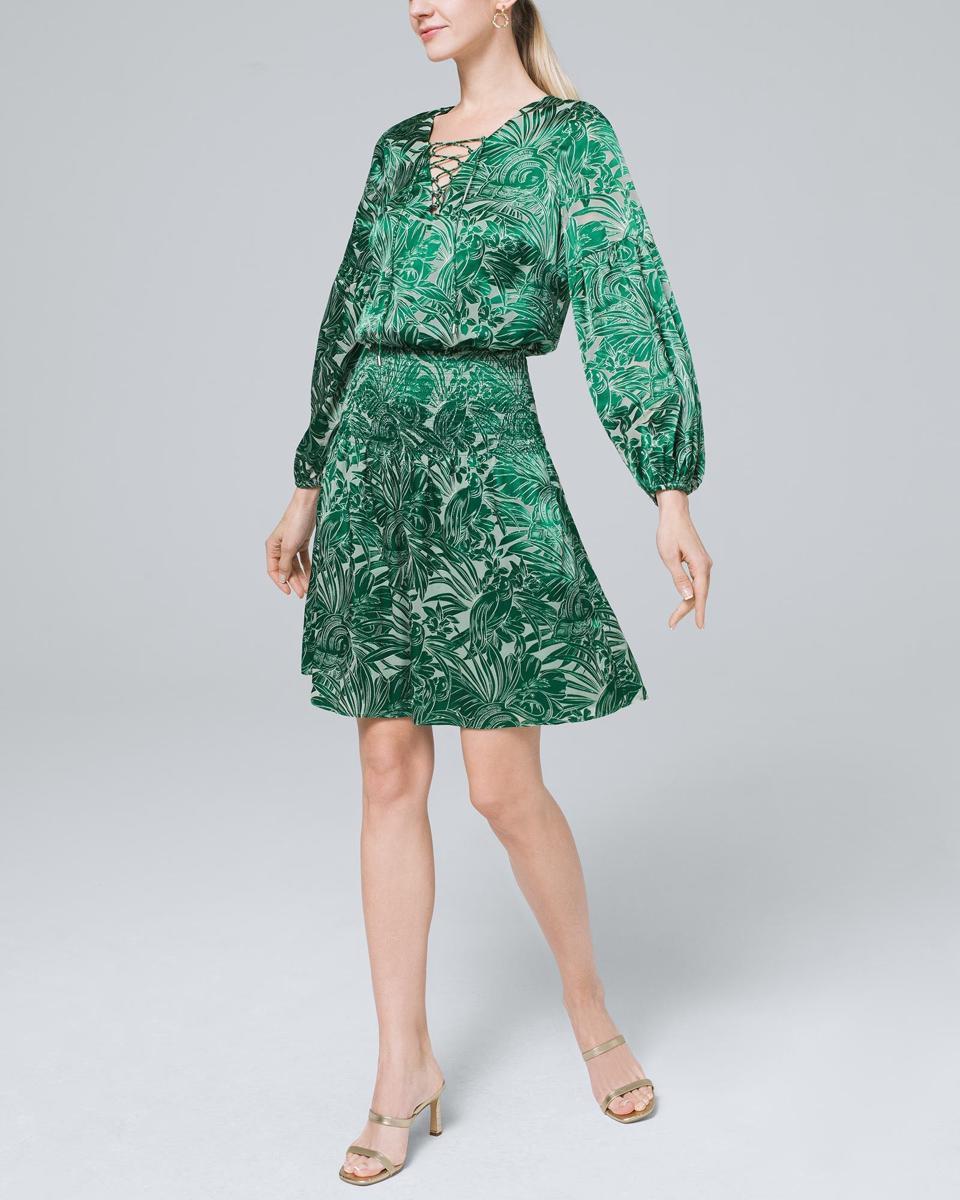 WHBM Petite Smocked Burnout Blouson Dress