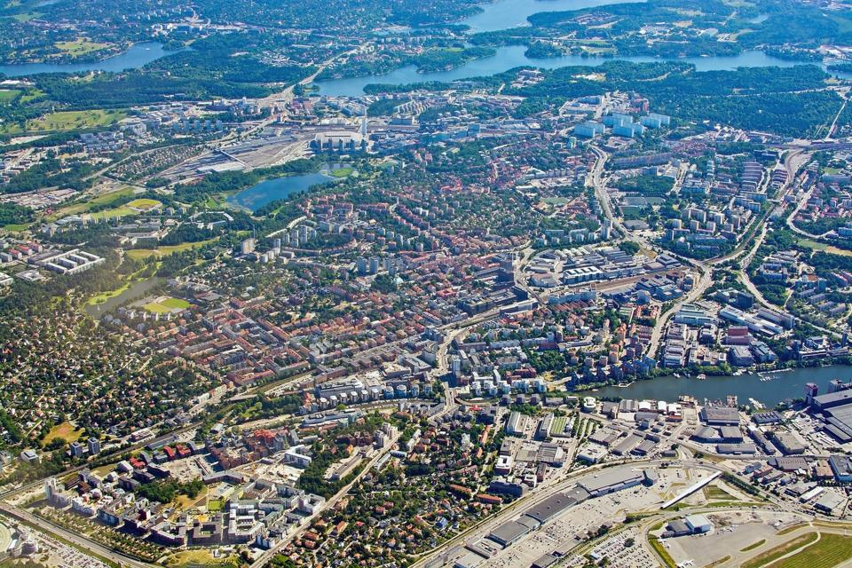 Aerial shot over Solna and Bromma airport, Stockholm.