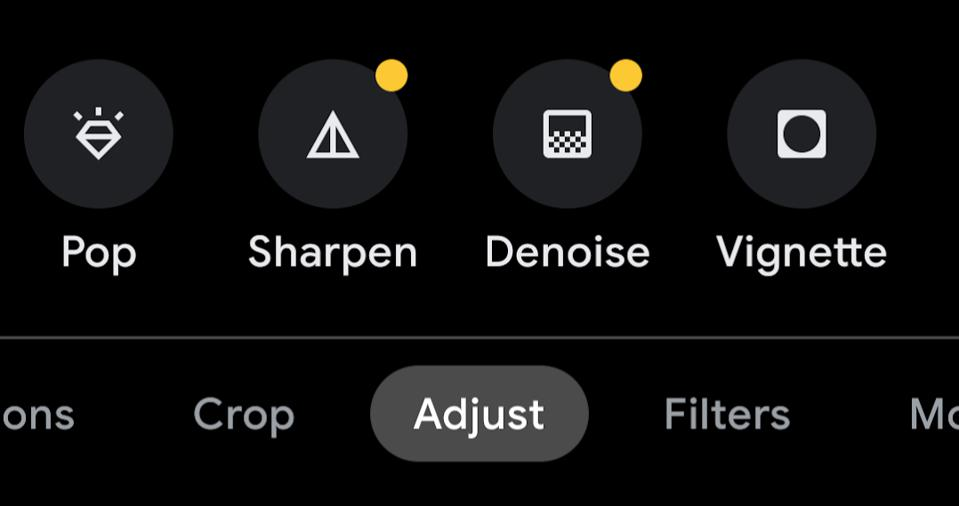 A menu with the new Google Photo tools for sharpening and de-noise.