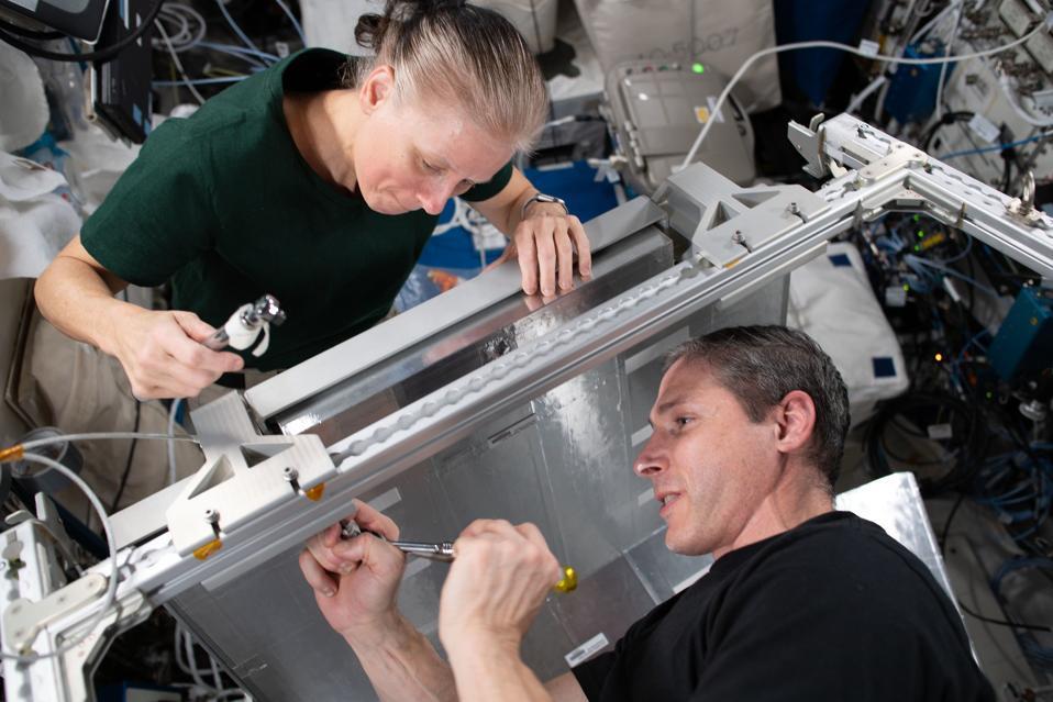 Gli ingegneri di volo della NASA Shannon Walker e Michael Hopkins hanno installato dormitori temporanei all'interno dell'unità di laboratorio Columbus dell'Agenzia spaziale europea.  La nuova proprietà Crew Alternate Sleep, che può anche essere convertita in un rack di stoccaggio del carico, consentirà spazio aggiuntivo per un breve periodo quando fino a 11 membri dell'equipaggio occuperanno la Stazione Spaziale Internazionale ad aprile.