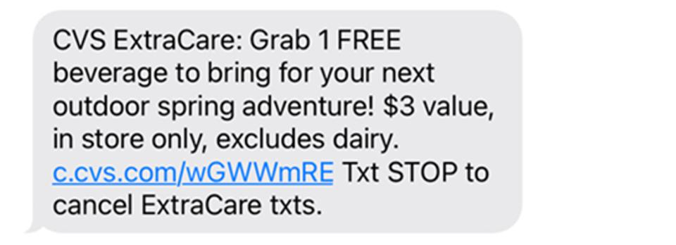 text message from cvs to customers