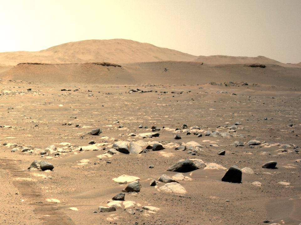 Photograph of NASA's Mars Ingenuity helicopter as photographed by the Perseverance rover.