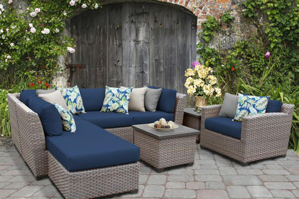 Outdoor furniture deals: Sol 72 Outdoor™ Merlyn 8 Piece Rattan Sectional Seating Group with Cushions & Reviews | Wayfair