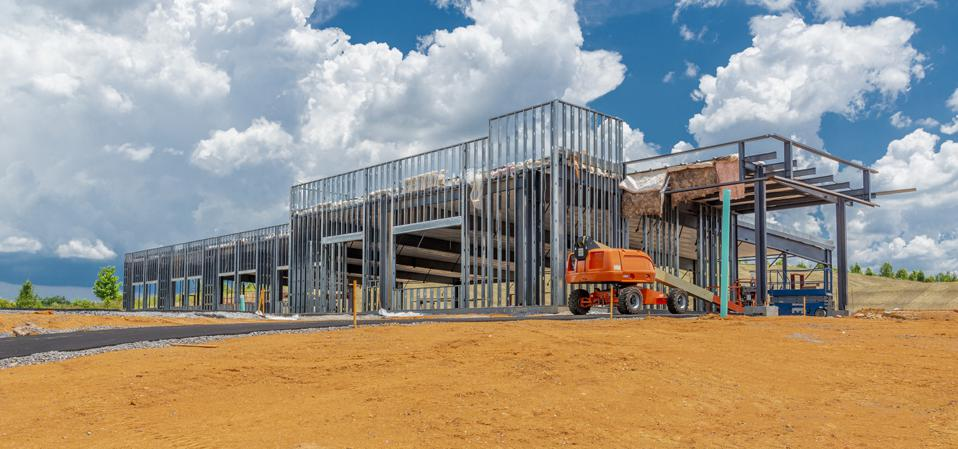 Commercial Construction Site With Copy Space