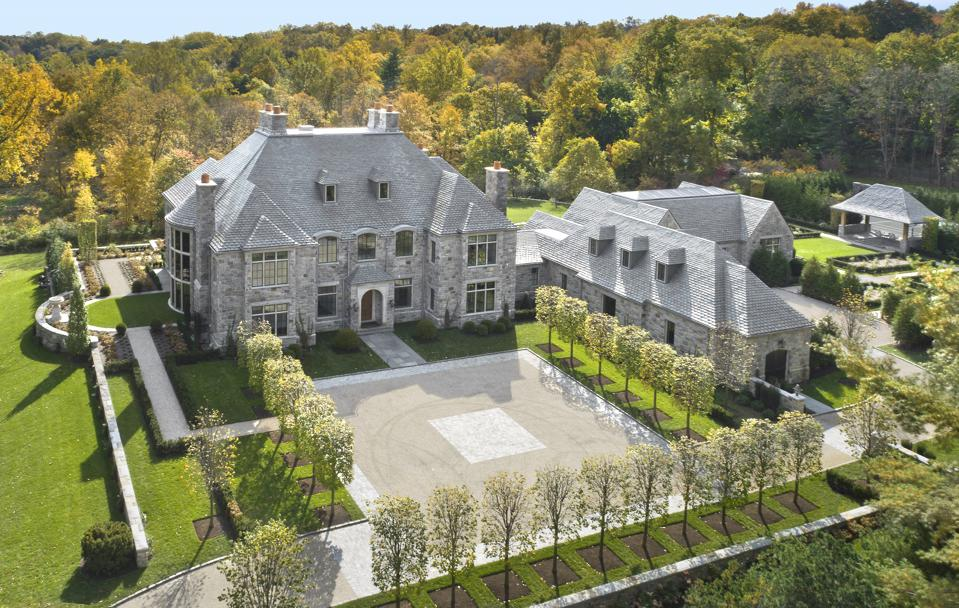 Mansion surrounded by forest