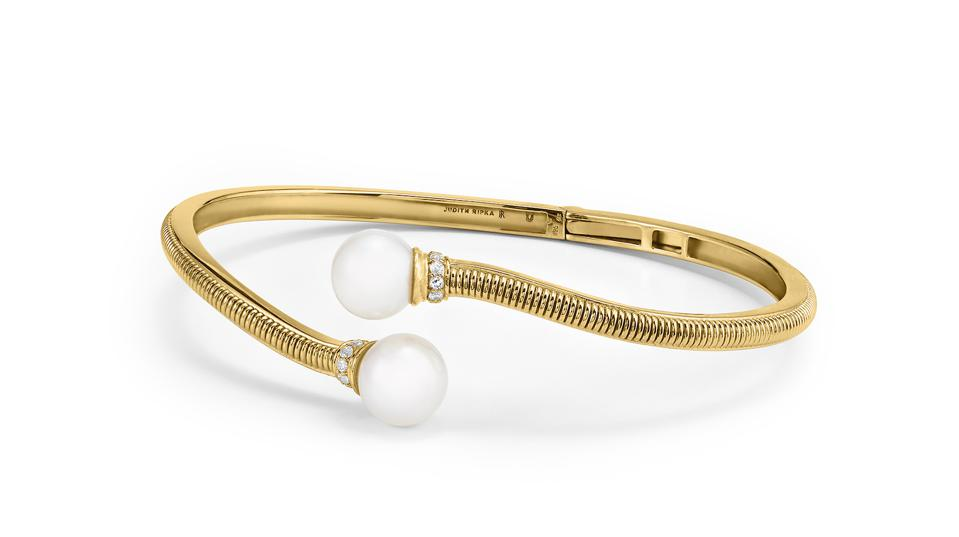 Judith Ripka Shima Bypass Cuff with Freshwater Pearls and Diamonds in 18K