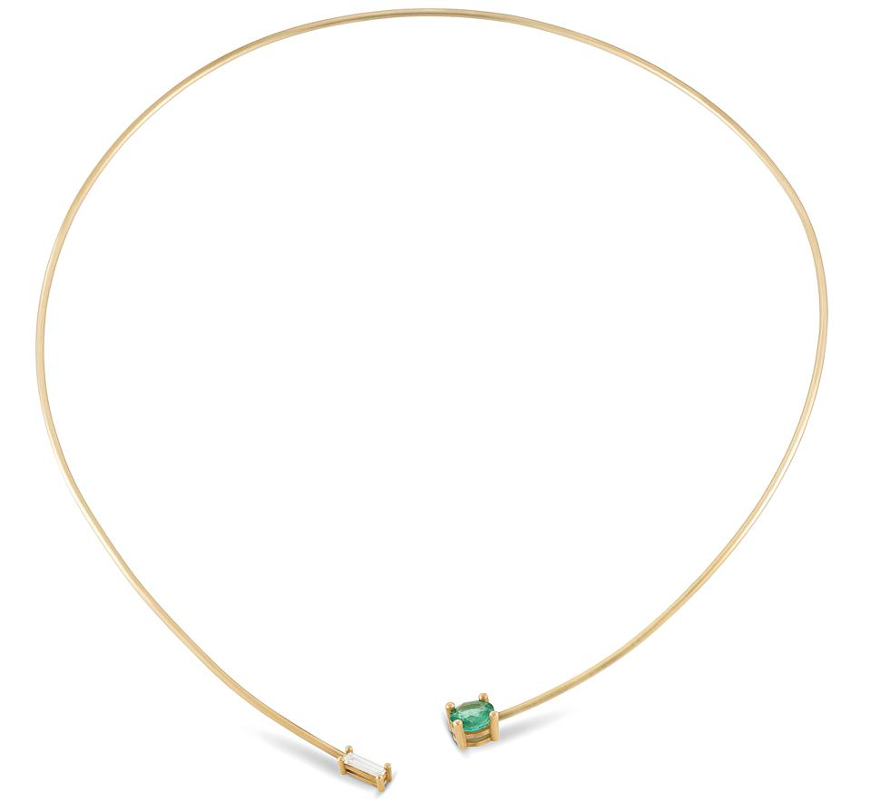 Sandy Leong x Gemfields 18 karat recycled yellow gold necklace with a Zambian emerald and an ethically sourced white diamond