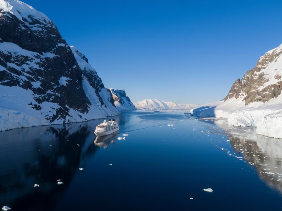 Seabourn Quest ship in Antarctica's Lemaire Channel.