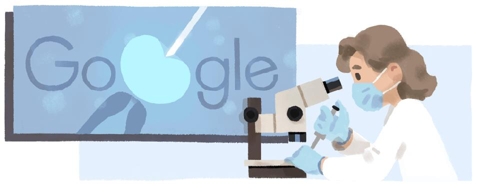 Color illustration of a brown-haired woman at a microscope with the word Google