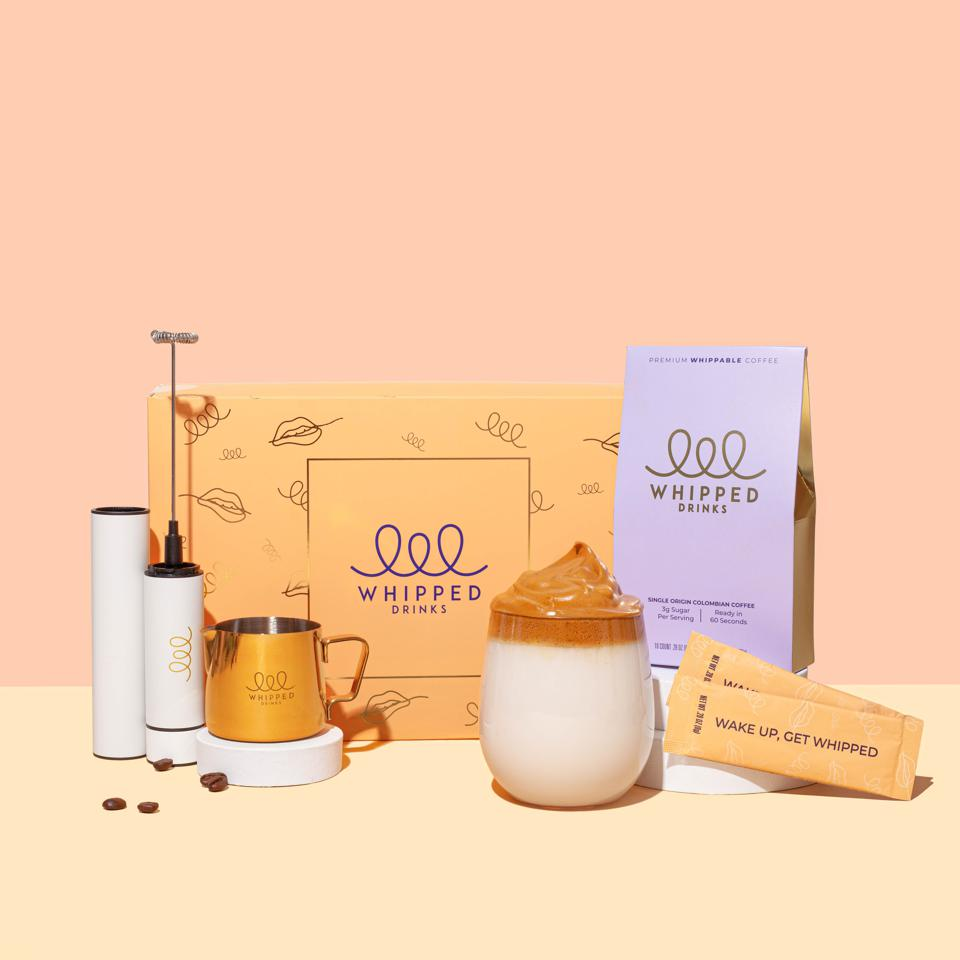Whipped coffee product lineup including frothing jug, frothing device and whipped sticks