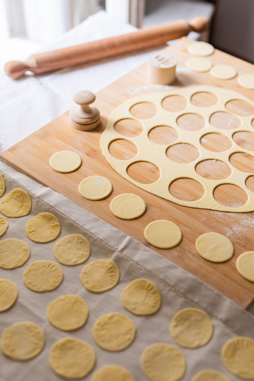 Making the corzetti discs.