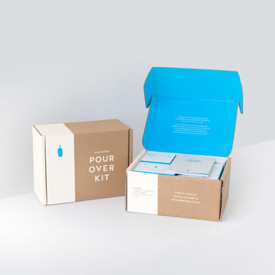Blue Bottle's Pour Over kit comes with filters dripper, carafe and pour over guide.