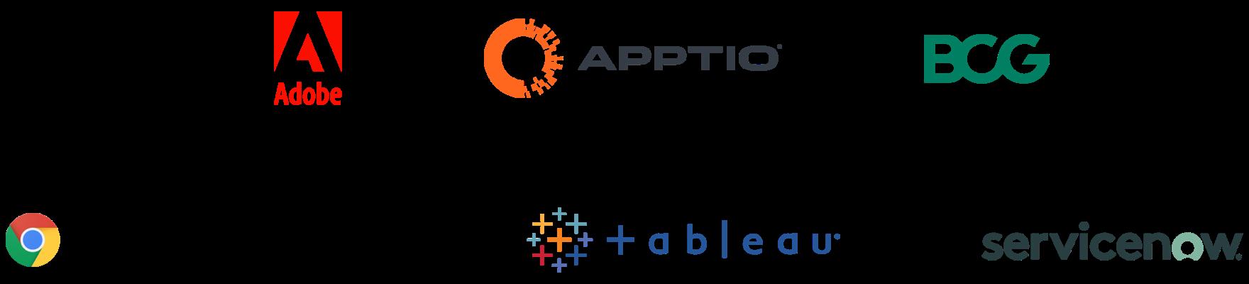adobe/apptio/bcg/chrome/tableau/servicenow