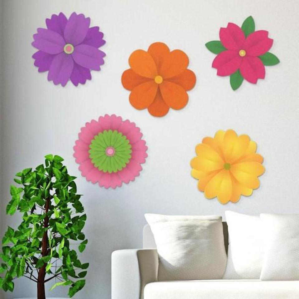 ArtSugar Acrylic Hanging flowers over a sofa