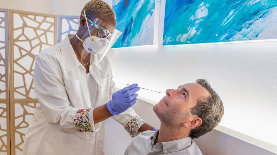 man getting nasal test