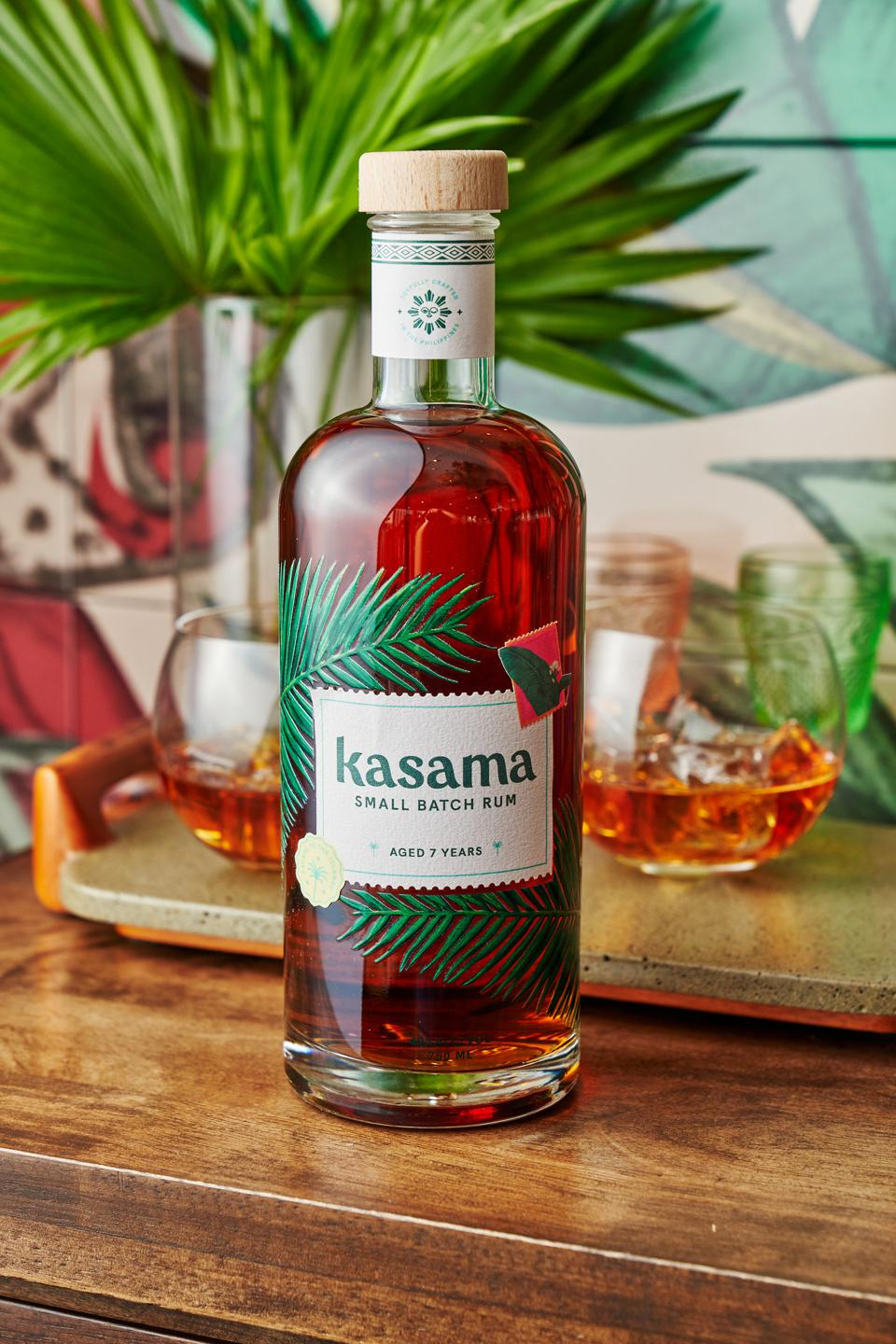The artful bottle of Kasama rum is decorated with Filipino flora and fauna.