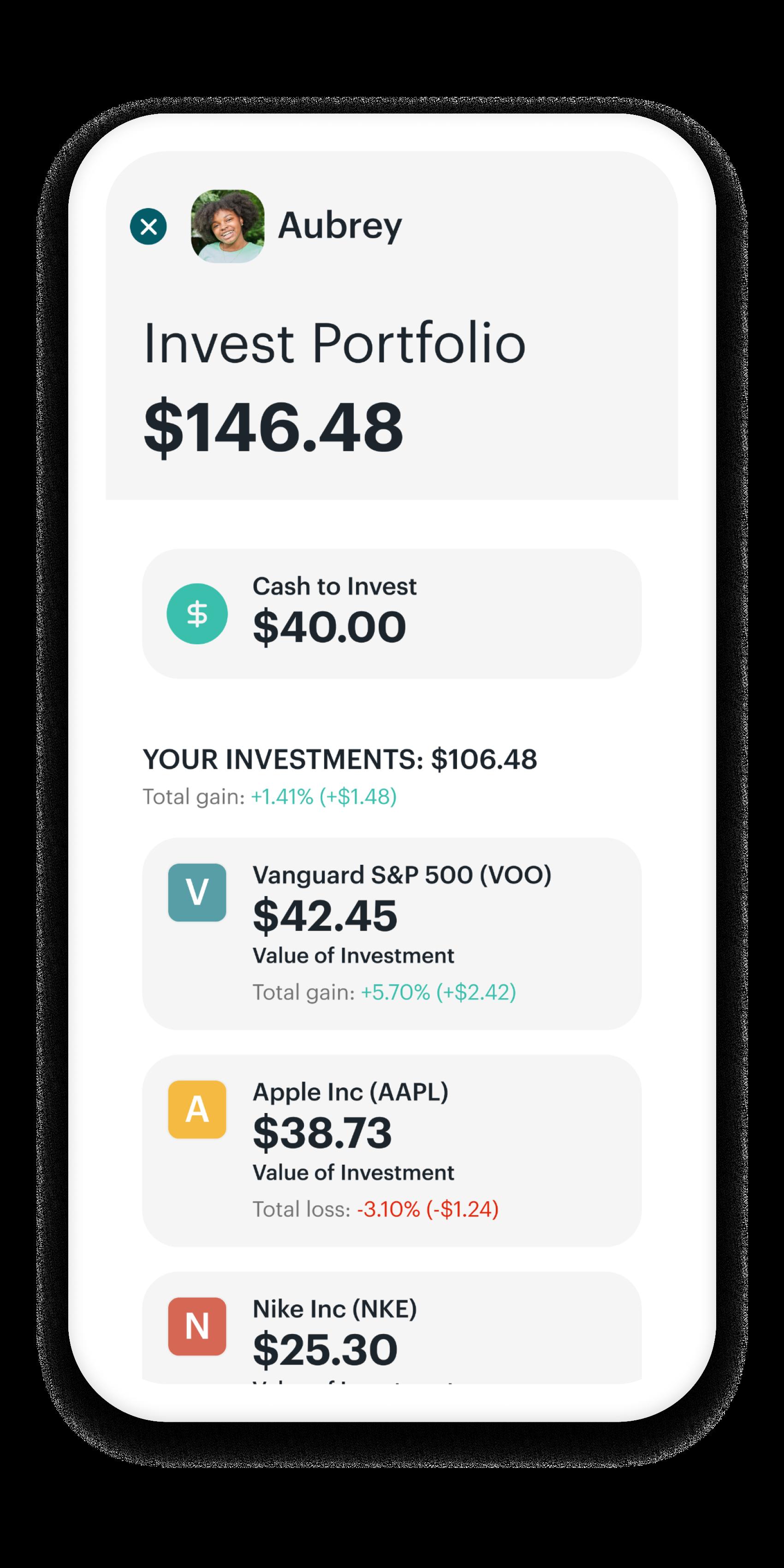 Greenlight's investing dashboard.