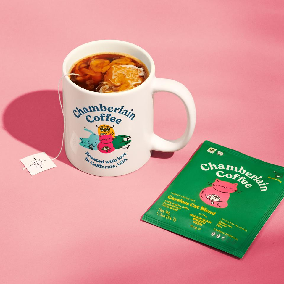 A cup of Chamberlain hot coffee, made with the brand's Careless Cat Blend.