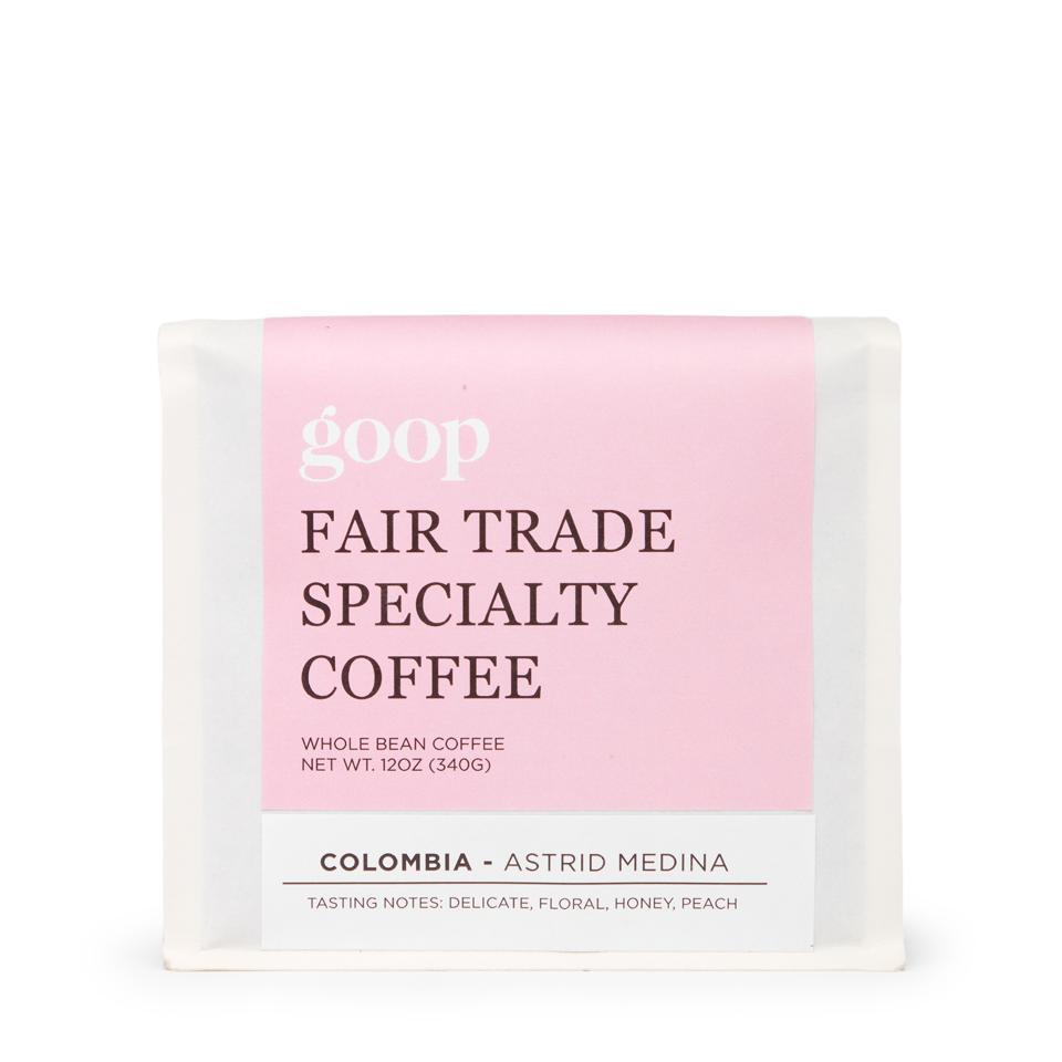 A bag of goop's Fair Trade, specialty coffee