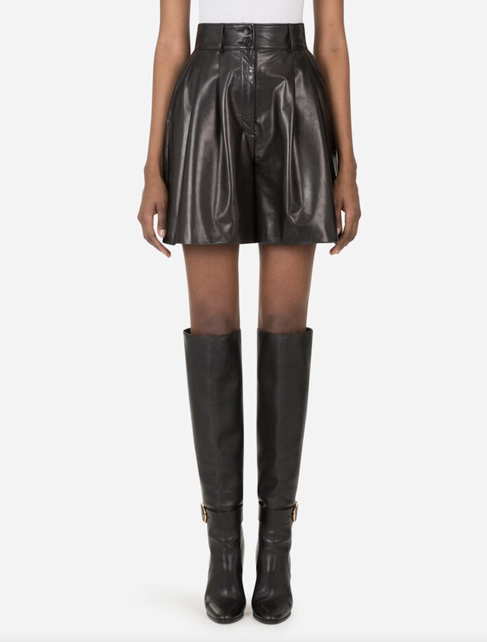 Dolce & Gabbana darted plongé lambskin shorts