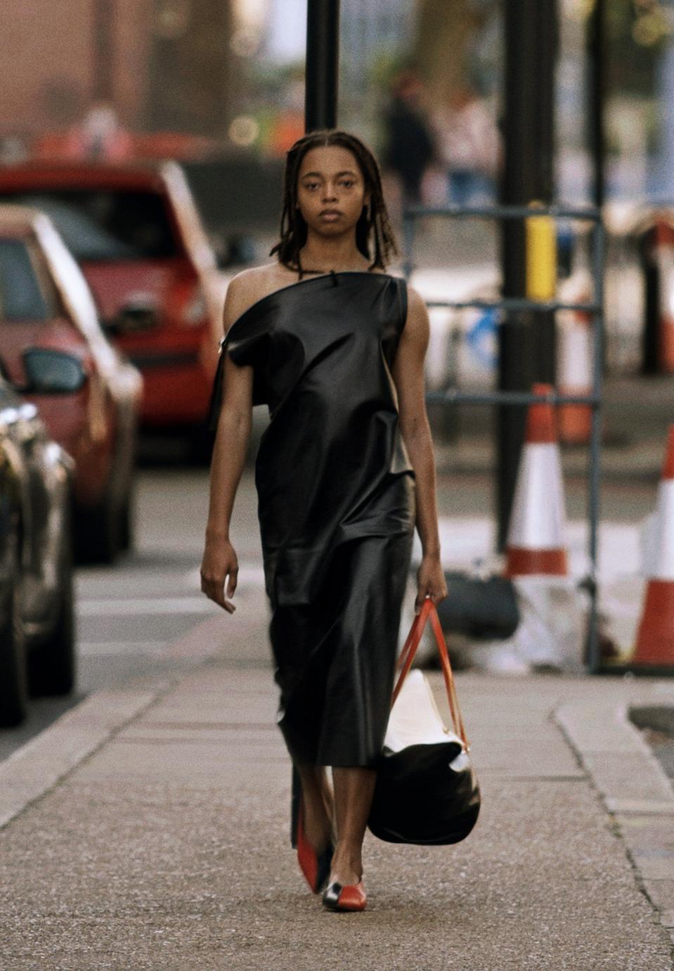 SHINY LAMBSKIN DRESS WITH BOAT NECK