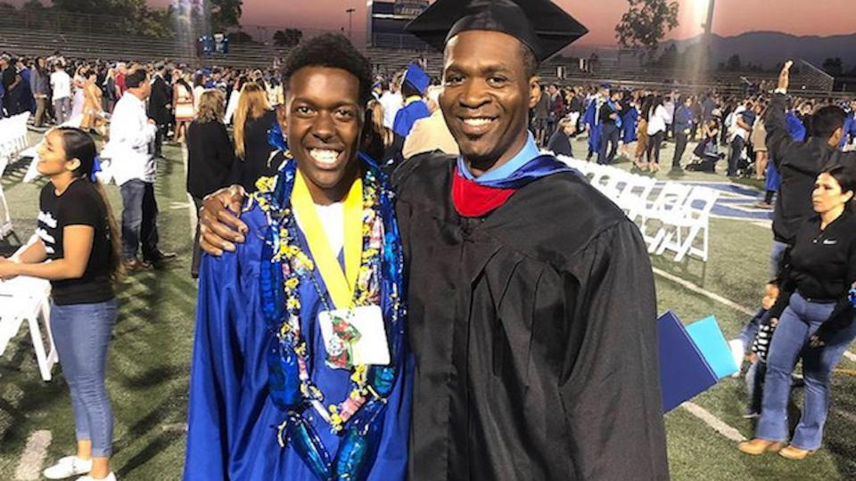 Teacher Norman A. Coulter Jr. with one of his graduating students at San Dimas High School.