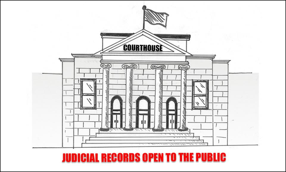 Picture of an impressive courthouse, with a warning that judicial records are open to the public.